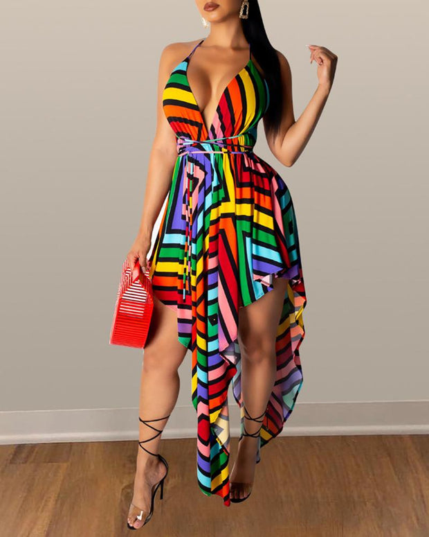 V-Neck Backless Colorful Striped Irregular Dress