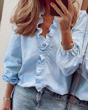 Long Sleeve Ruffles Casual Top
