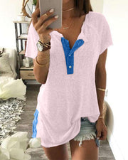 Half Button Contrast T-Shirt