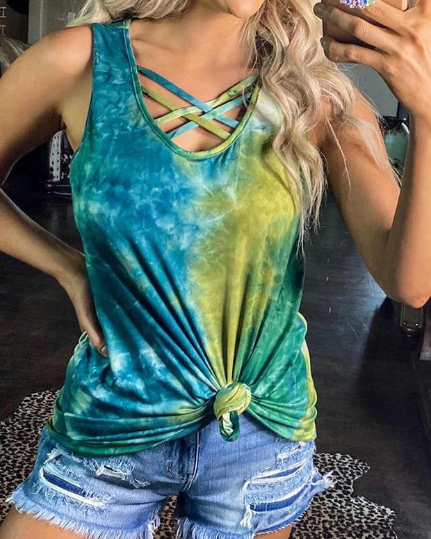 Tie Dye Crisscross Sleeveless Tank Top