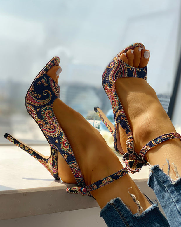 Ethnic Print Ankle Strap Slingback Thin Heeled Sandals