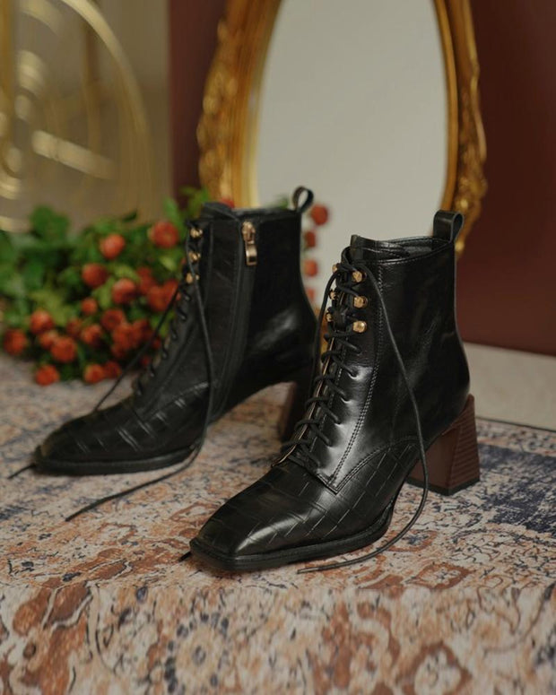 Solid Square-toe Block Heel Lace-up Boots
