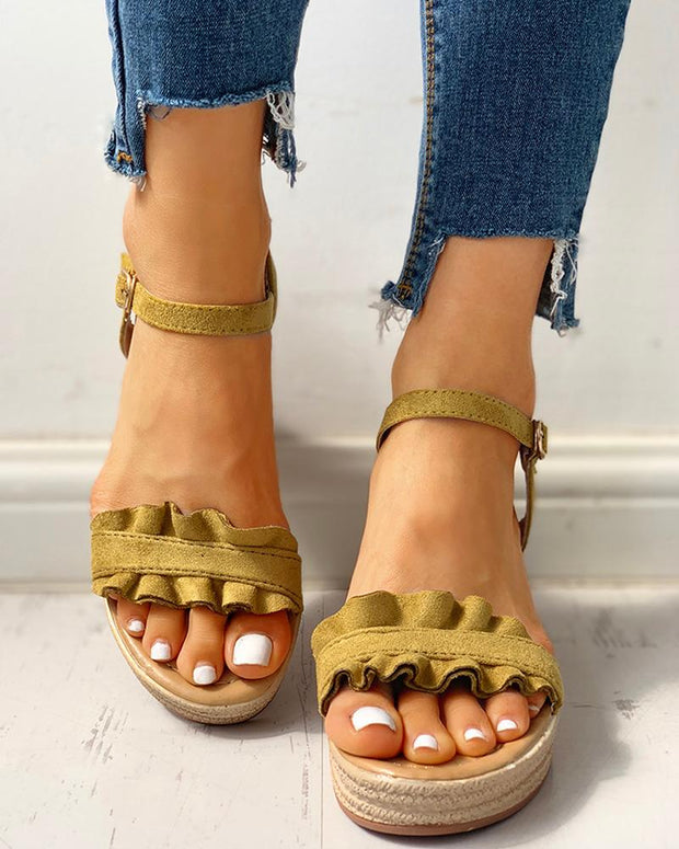 Suede Frill Hem Espadrille Wedge Sandals