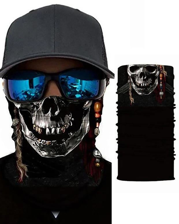 Skull Print Breathable Face Bandana Magic Scarf Headwrap Balaclava