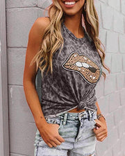 Camouflage Leopard Print Sleeveless Tanks