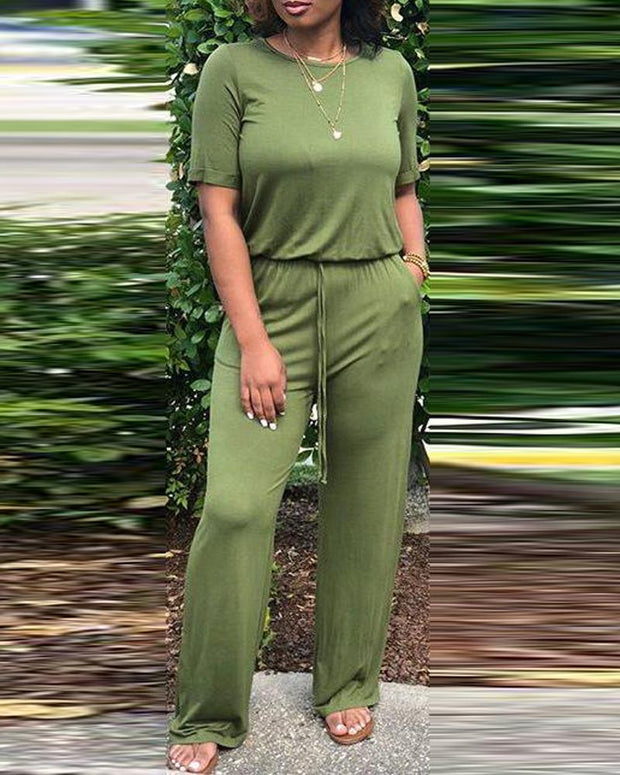 Solid Color Tie Waist Jumpsuit