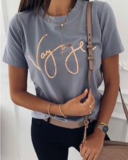 Letter  Print Short Sleeve T-Shirt