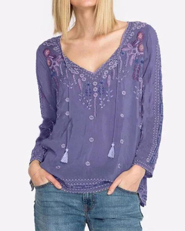 Floral Embroidery V Neck Top