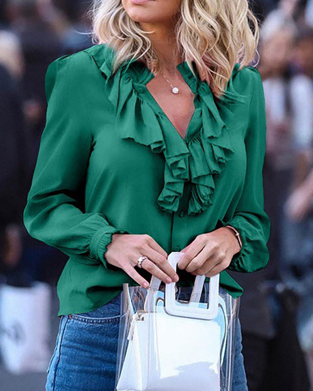 V-Neck Long Sleeve Ruffles Blouse