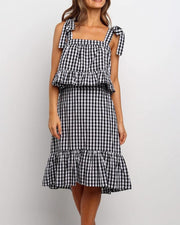 Grid Print Ruffle Trim Dress