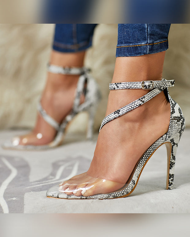 Pointed-toe Clear Splicing Snakeskin Cross Strap High Heels