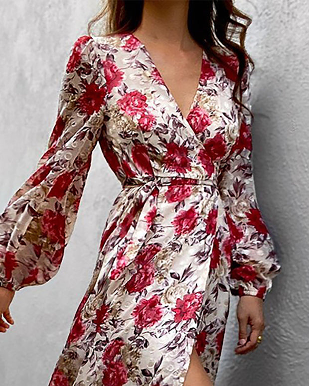 Floral Print Lantern Sleeve High Slit Dress