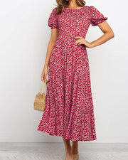 Floral Lantern Sleeve Midi Dress