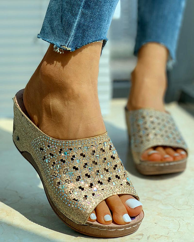 Studded Hollow Out Wedge Heeled Sandals