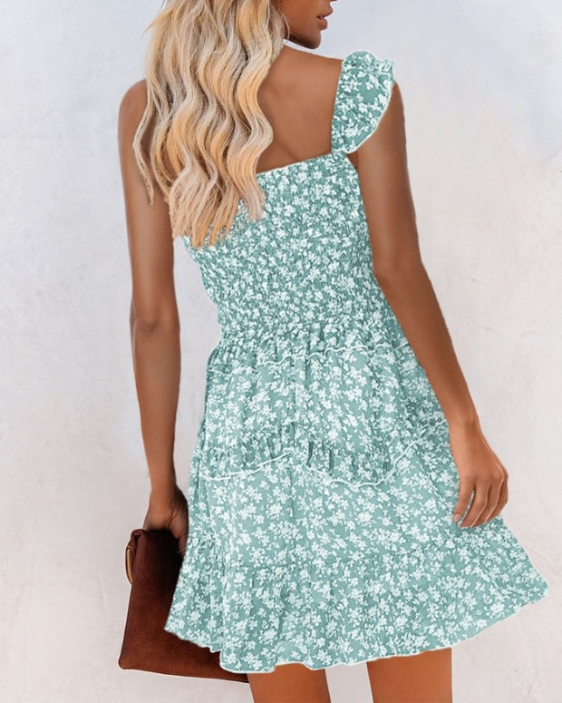 Floral Ruched Sleeveless Mini Dress