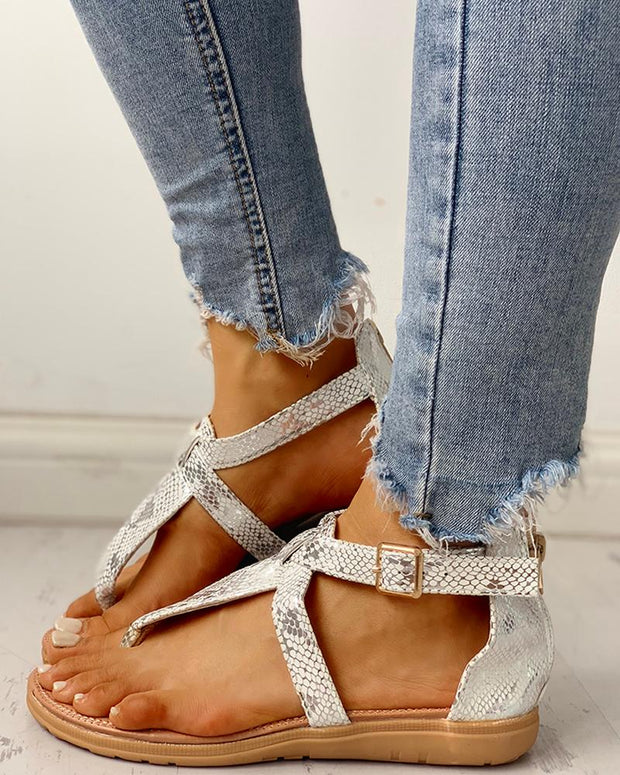 Toe Post Glitter Crisscross Flat Sandals