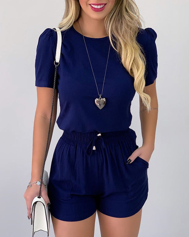 Puff Sleeve Casual Top & Drawstring Shorts Set