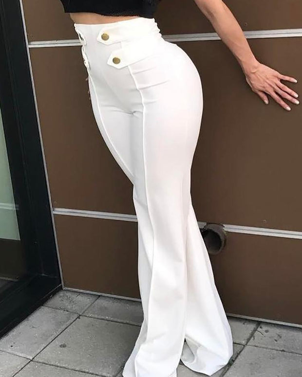 Buttoned High Waist Wide Leg Tailored Pants