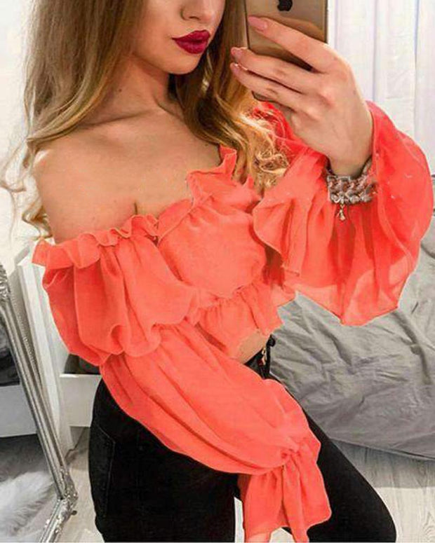 Off Shoulder Ruffle Trim Top