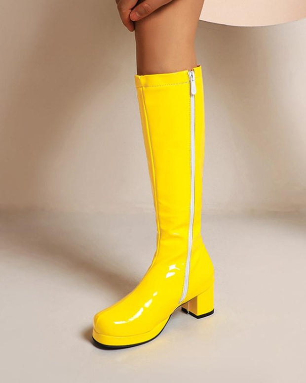 Solid Patent Leather Round-toe  Block Heel Long Boots