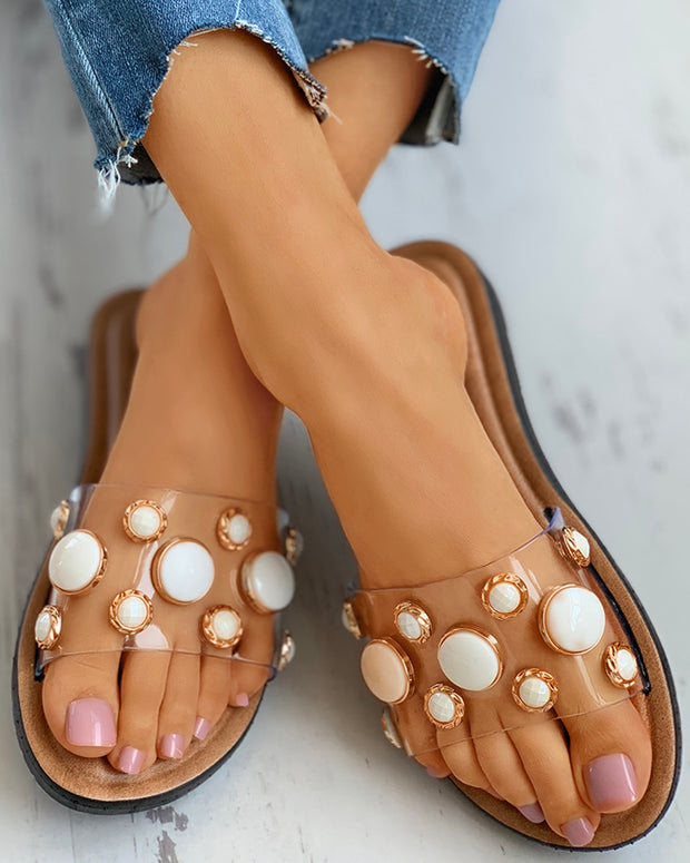 Beaded Transparent Strap Flat Sandals