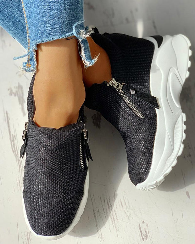 Zipped Design Platform Casual Sneakers