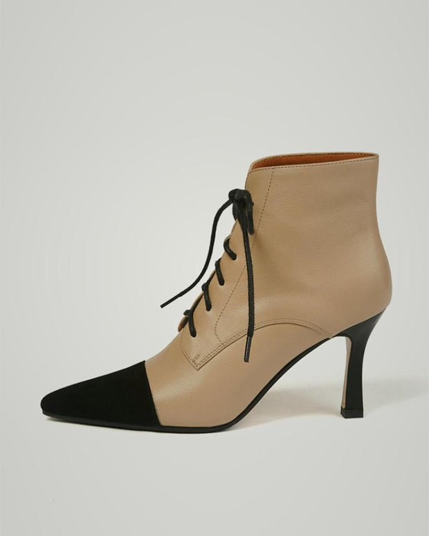 Pointed-toe Color Block Lace-up Martin Boots