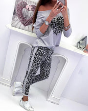 Leopard Print Heart Design Beaded Top & Pants Set