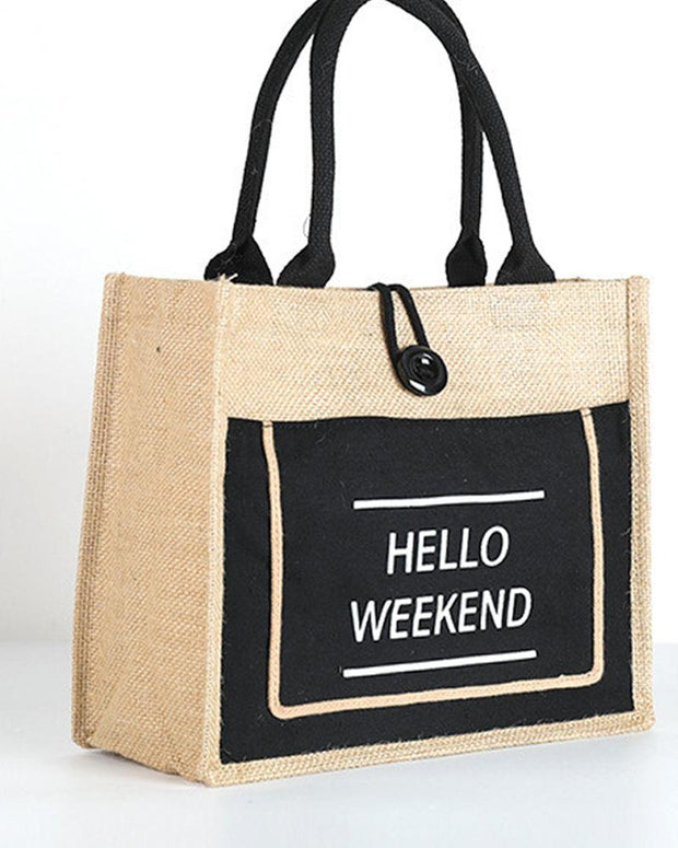 Waterproof Burlap Travel One-shoulder Tote