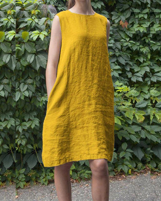 Sleeveless round neck pocket cotton and linen large size women's dress