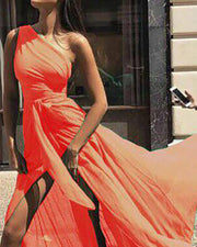 One Shoulder Tie Waist High Slit Maxi Dress