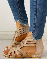 Studded Hollow Out Flat Sandals