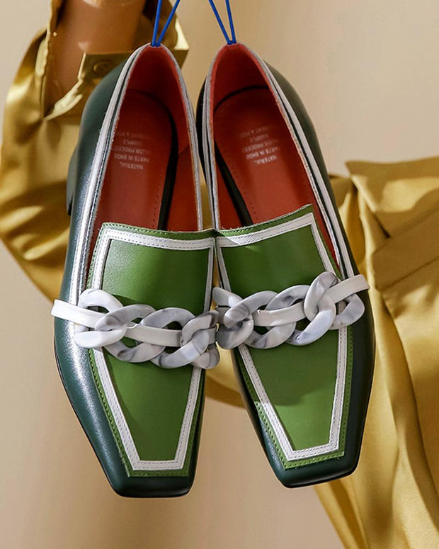 Contrast Color Square Toe Loafers