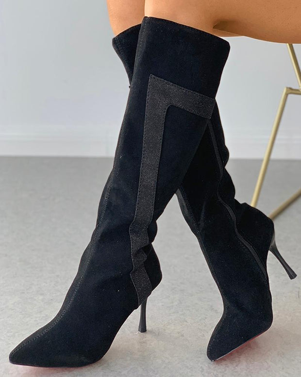 Pointed Toe Zipper Design Stiletto Heeled Boots