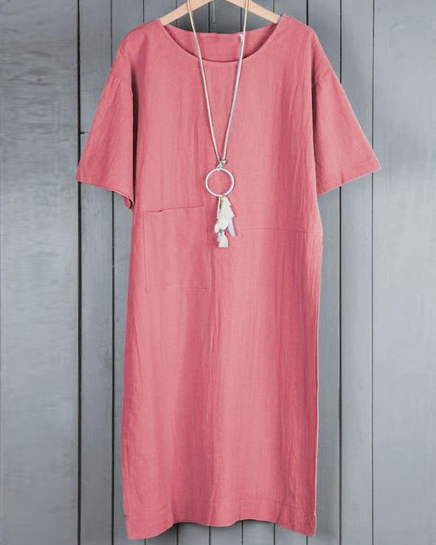 Boat Neck Linen Midi Dress