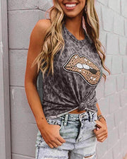 Leopard & Lip Print Sleeveless Tank