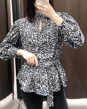 High Neck Keyhole Dalmatian Top