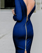 Zip Back Long Sleeve Party Dress