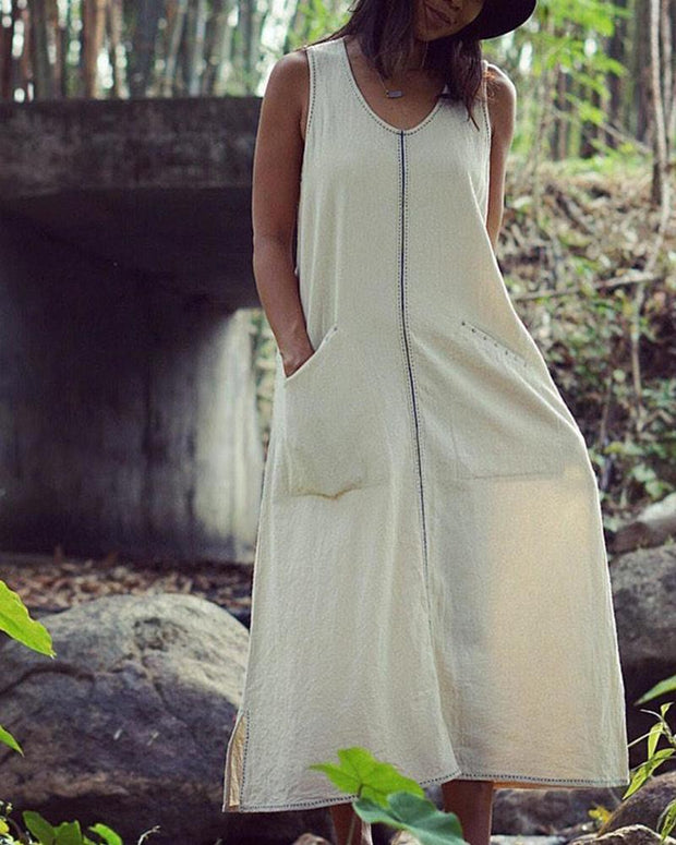 Solid Front Pocket Maxi Tank Dress