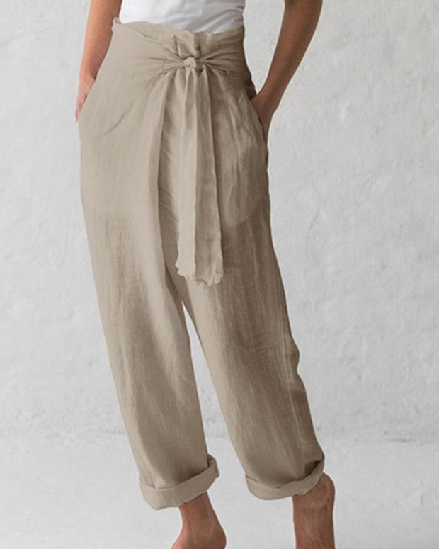 Solid Tie Front Loose Pants