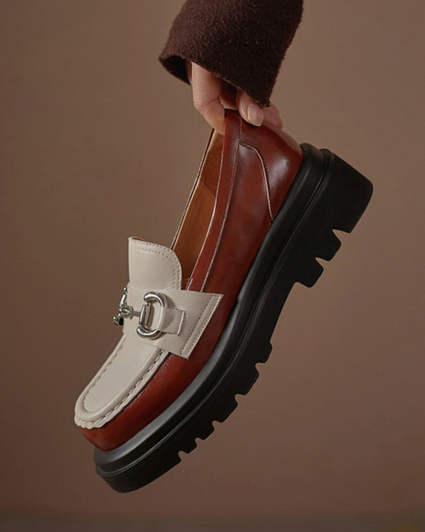 Round-toe Color Block Splicing Buckle Shallow Mouth Platform Loafers