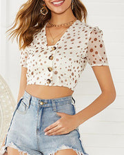Polka Dot Button Front Crop Top