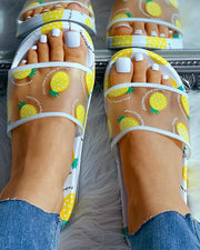 Transparent Pineapple Pattern Flat Sandals