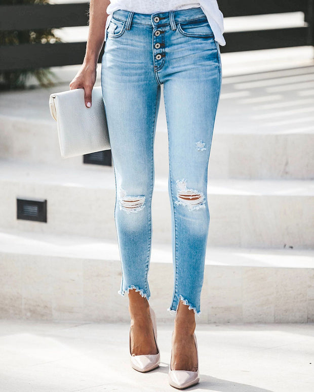Buttoned Pocket Design Ripped Cutout Denim Pants