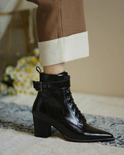 Solid Pointed Toe Low Heel Biker Boots