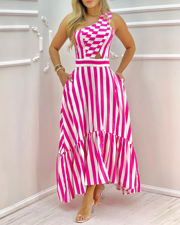 One Shoulder Striped Colorblock Casual Dress