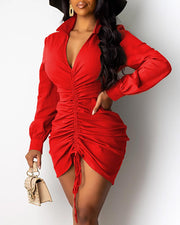 V Neck Drawstring Long Sleeve Bodycon Dress