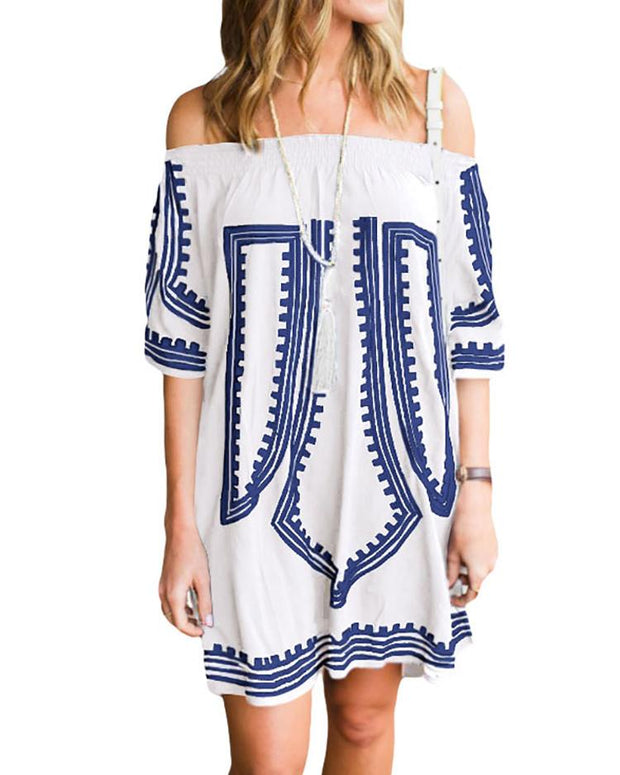 Digital Print Shirring Off Shoulder Casual Dress
