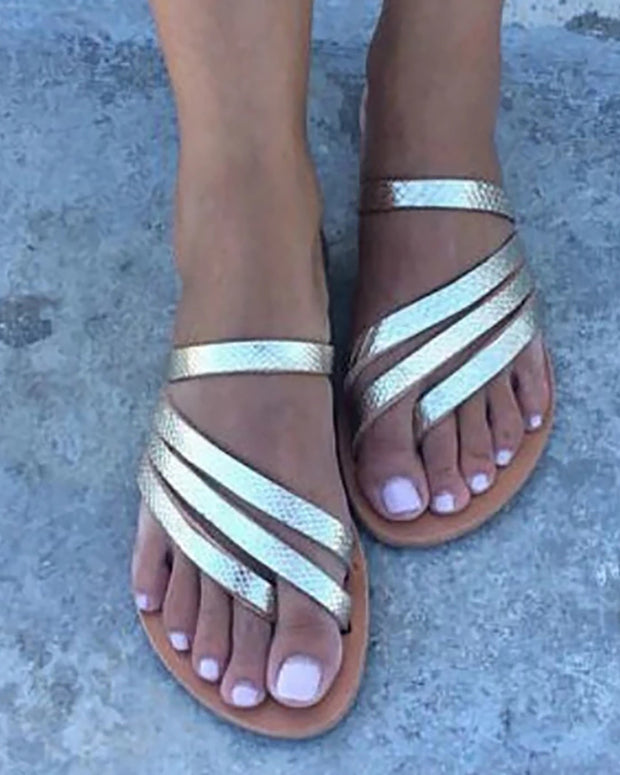 Solid Multi-Strap Casual Sandals