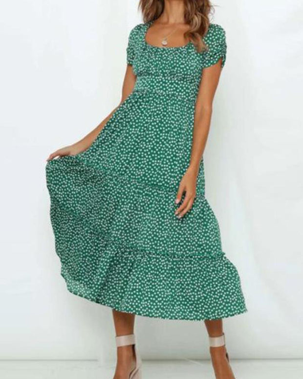 Polka Dot Square Neck Midi Dress